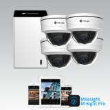 Milesight NVR pakke 3 med 4 Pro Dome kamera
